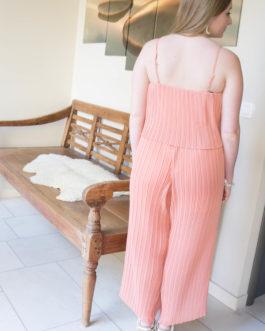 Jumpsuit plissé en wijde pijpen perzik