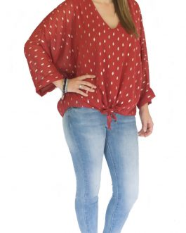 Blouse gouden spots roestrood