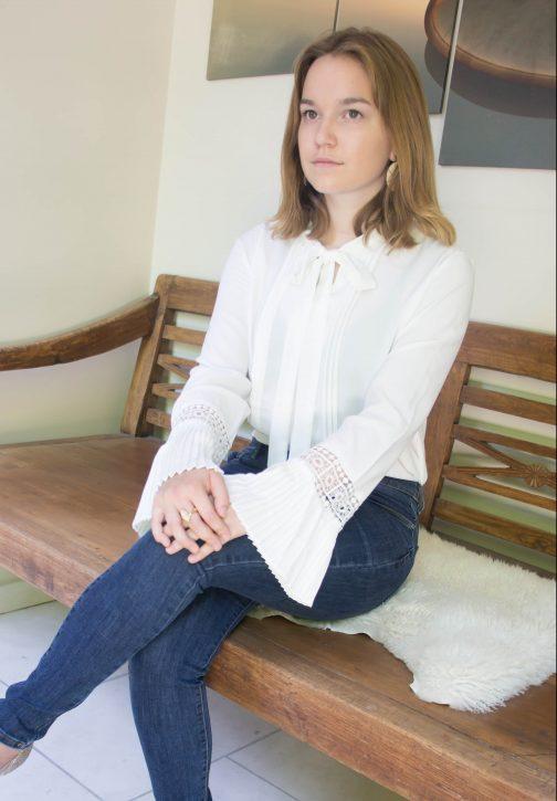 Blouse met strik en lange mouwen wit online dameskleding Florentini