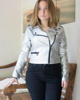 Vestje kort faux cuir zilver online dameskleding Florentini
