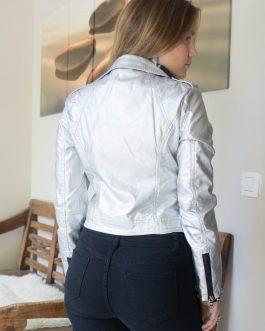 Vestje kort faux cuir zilver