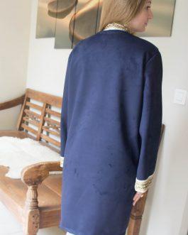 Vest lang met versiering donkerblauw