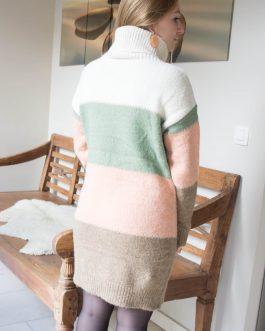 Minijurk met col en vier kleuren ecru