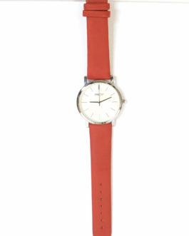 Horloge groot zilver/rood