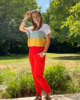 Volledige outfit turquoise/rood