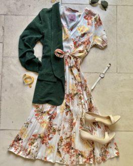 Volledige outfit bloemen/donkergroen