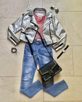 Volledige outfit zilver/koraalrood
