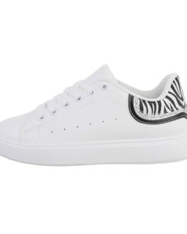 Lage sneakers Amber wit/zebra