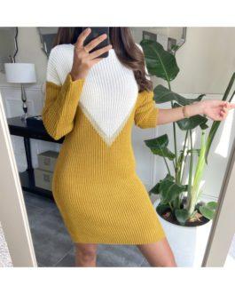 Twee-kleuren minijurk Shania geel