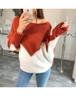 Twee-kleuren trui Sarah roestrood