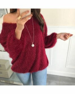 Trui Evanna fluffy met ketting bordeaux